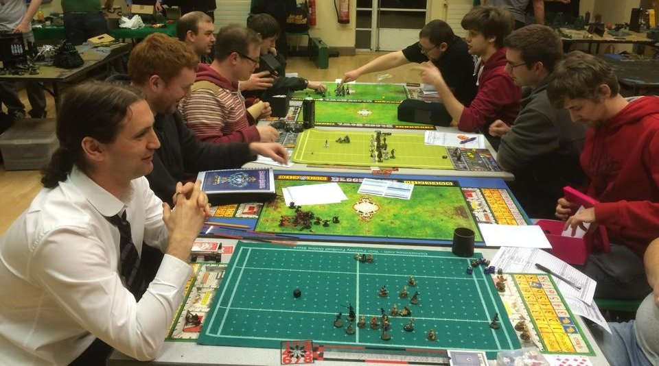Bloodbowl League being played out at 2d6 Lodge.